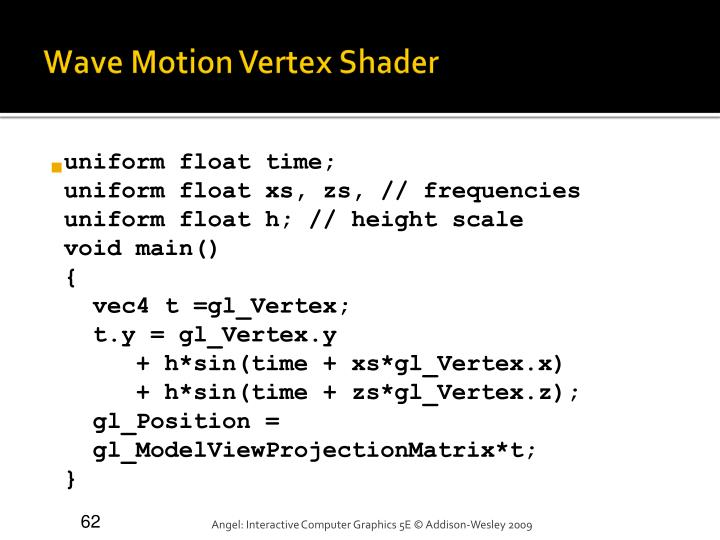 Wave Motion Vertex Shader