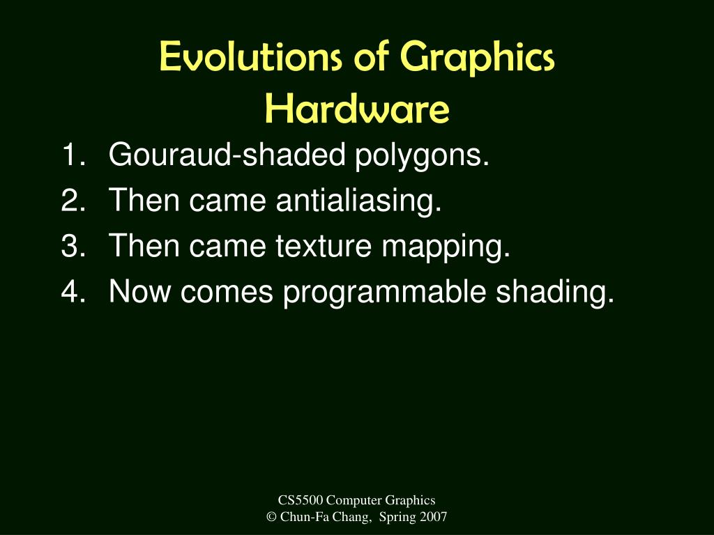 Evolutions of Graphics Hardware