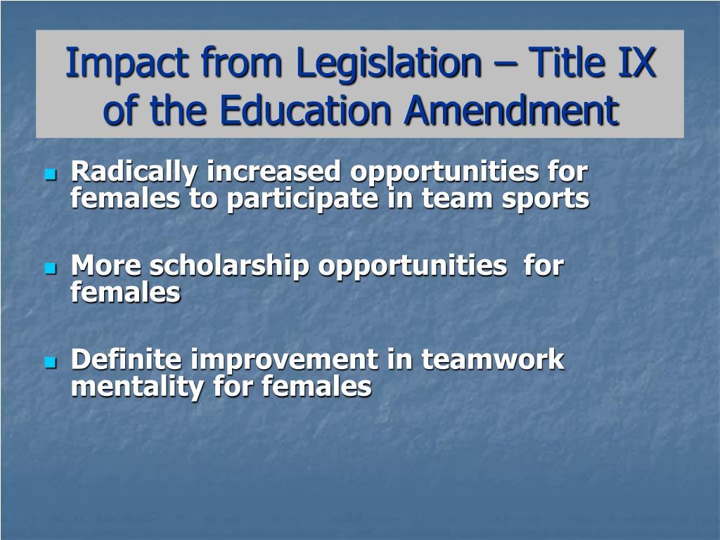 Impact from Legislation – Title IX of the Education Amendment