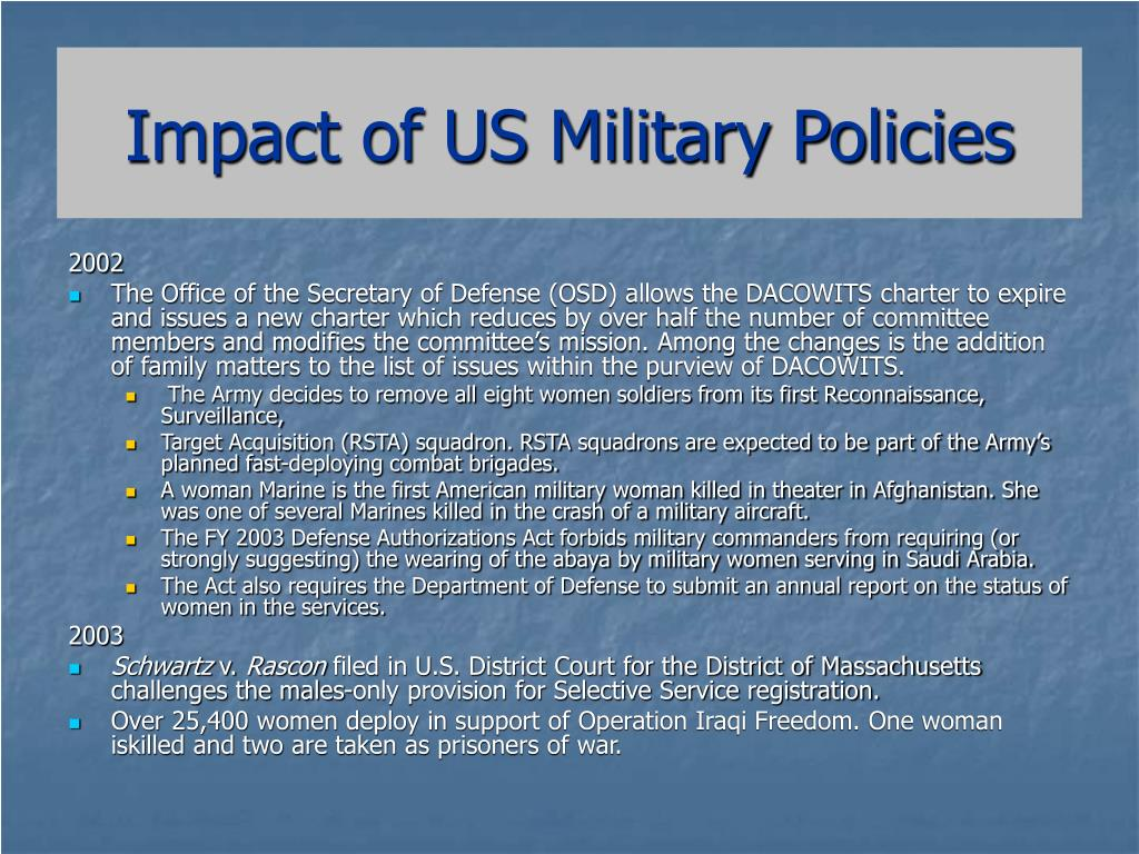 Impact of US Military Policies