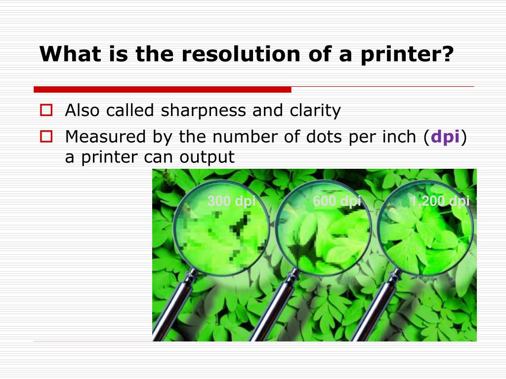What is the resolution of a printer?
