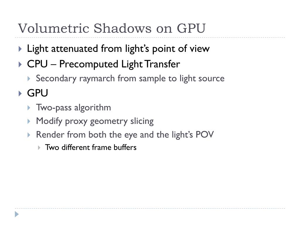 Volumetric Shadows on GPU