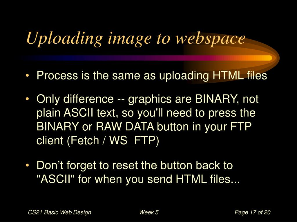 Uploading image to webspace