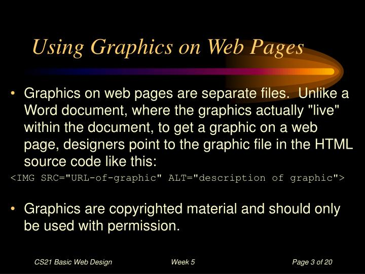 Using graphics on web pages
