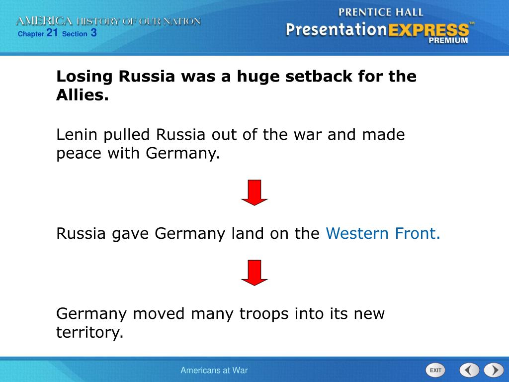 Losing Russia was a huge setback for the Allies.