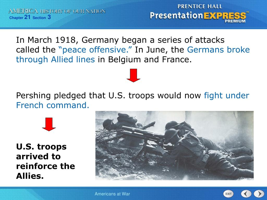 In March 1918, Germany began a series of attacks called the