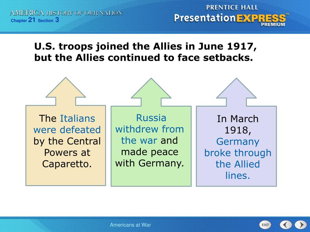 U.S. troops joined the Allies in June 1917, but the Allies continued to face setbacks.