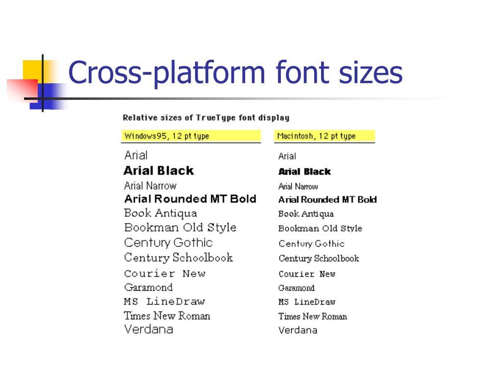 Cross-platform font sizes