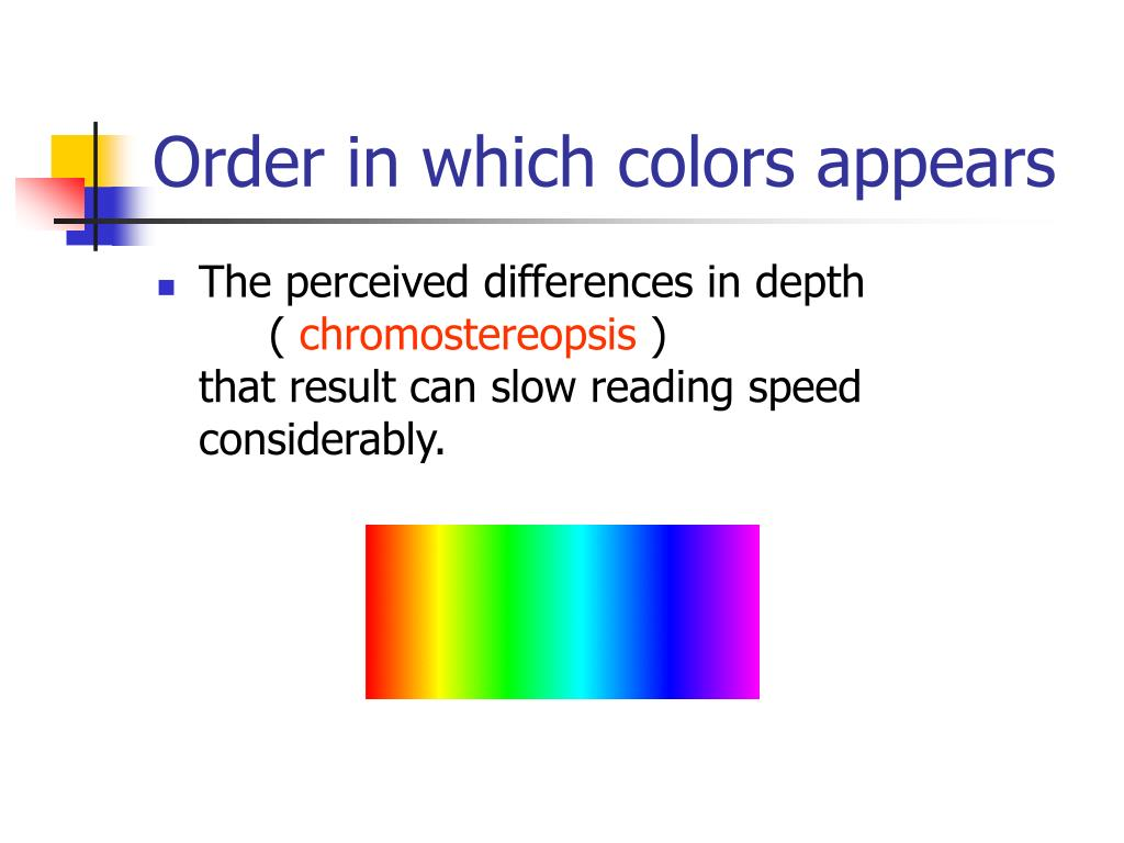 Order in which colors appears