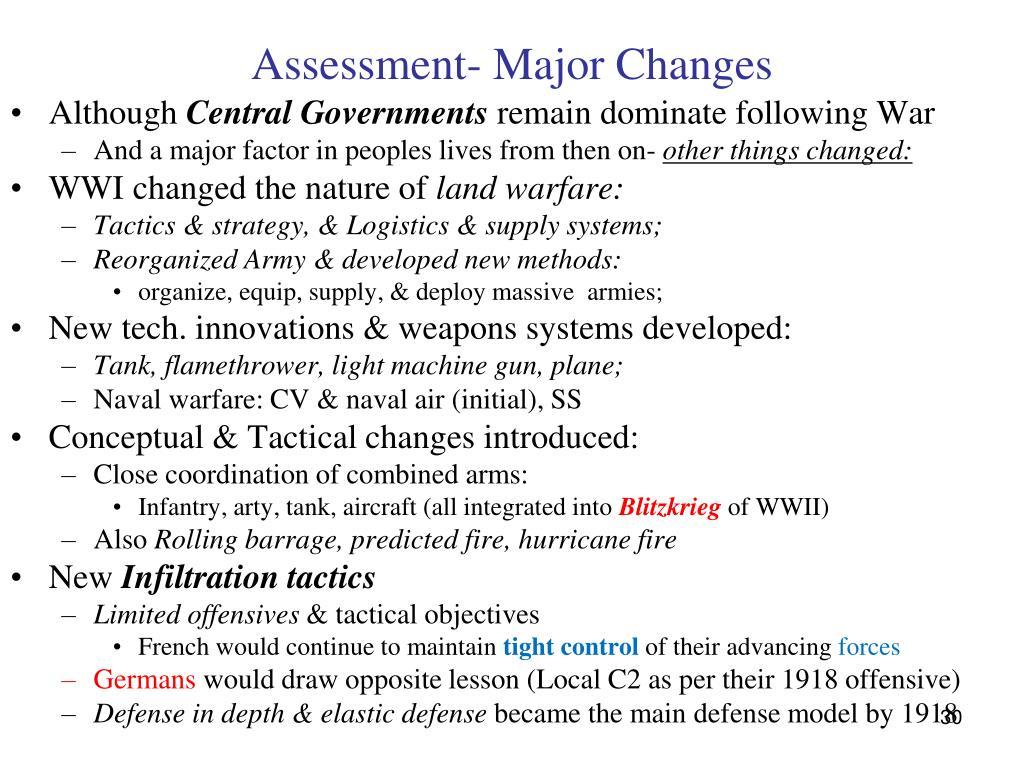 Assessment- Major Changes