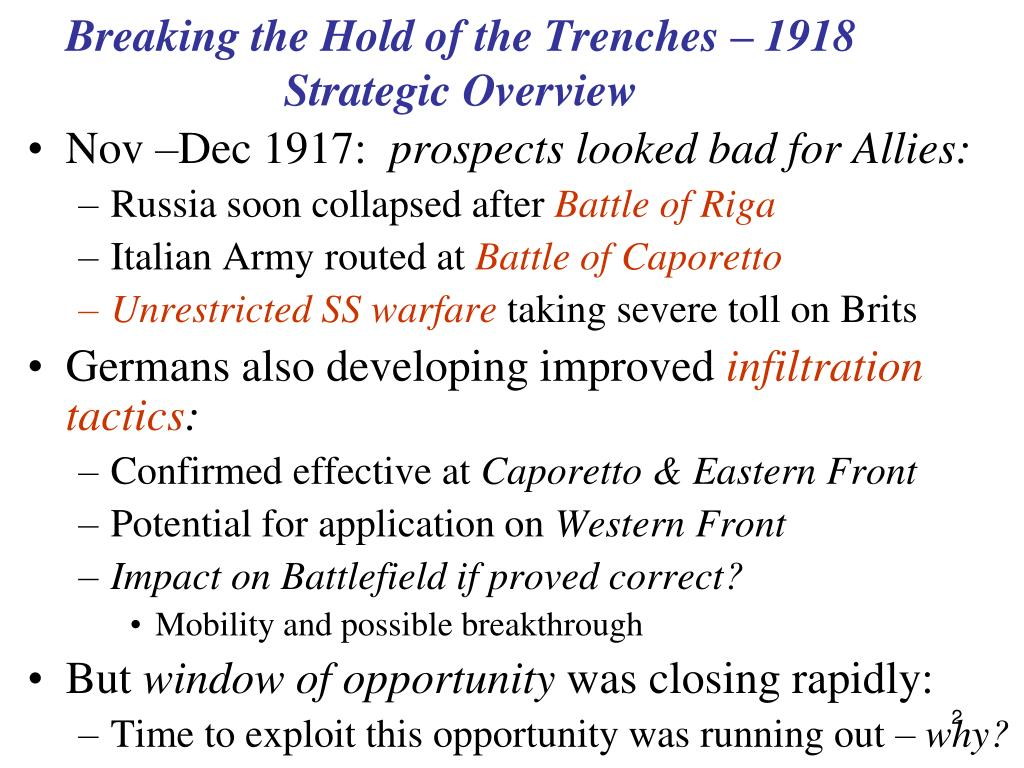 Breaking the Hold of the Trenches – 1918