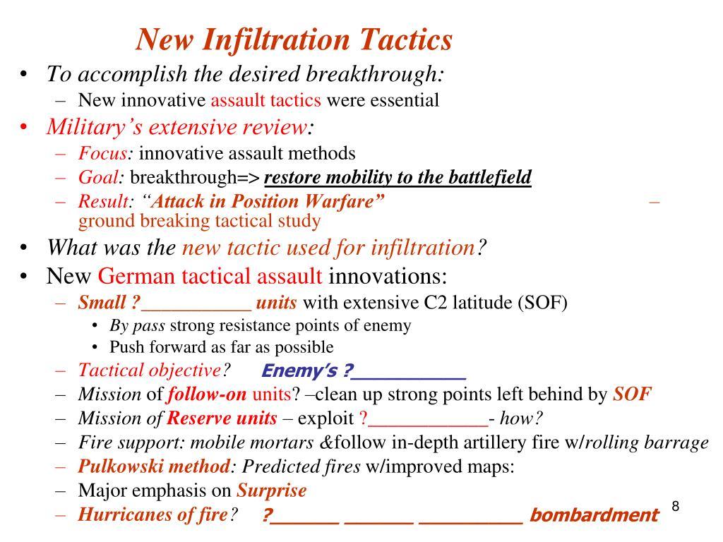 New Infiltration Tactics