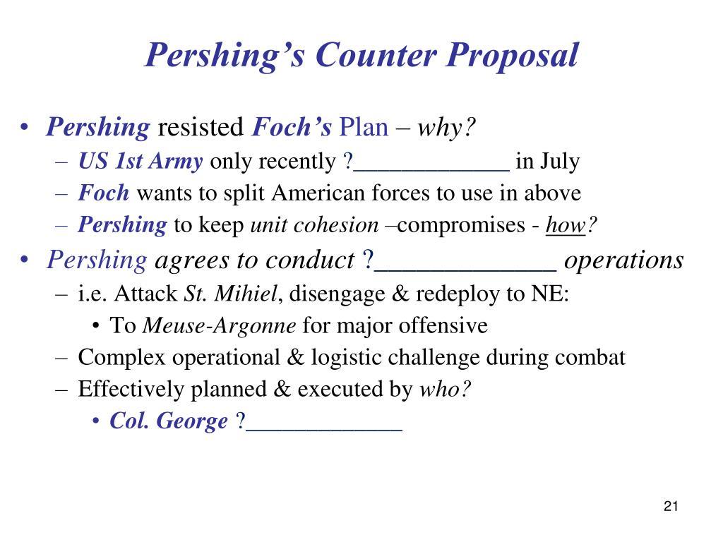 Pershing's Counter Proposal