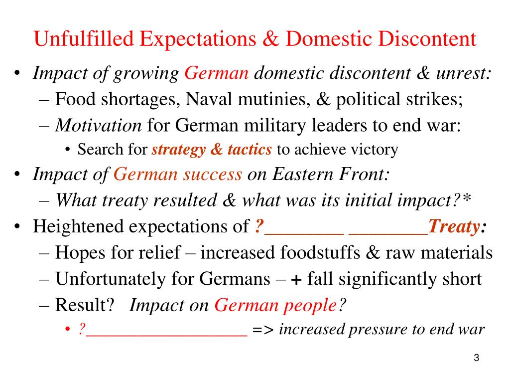 Unfulfilled Expectations & Domestic Discontent