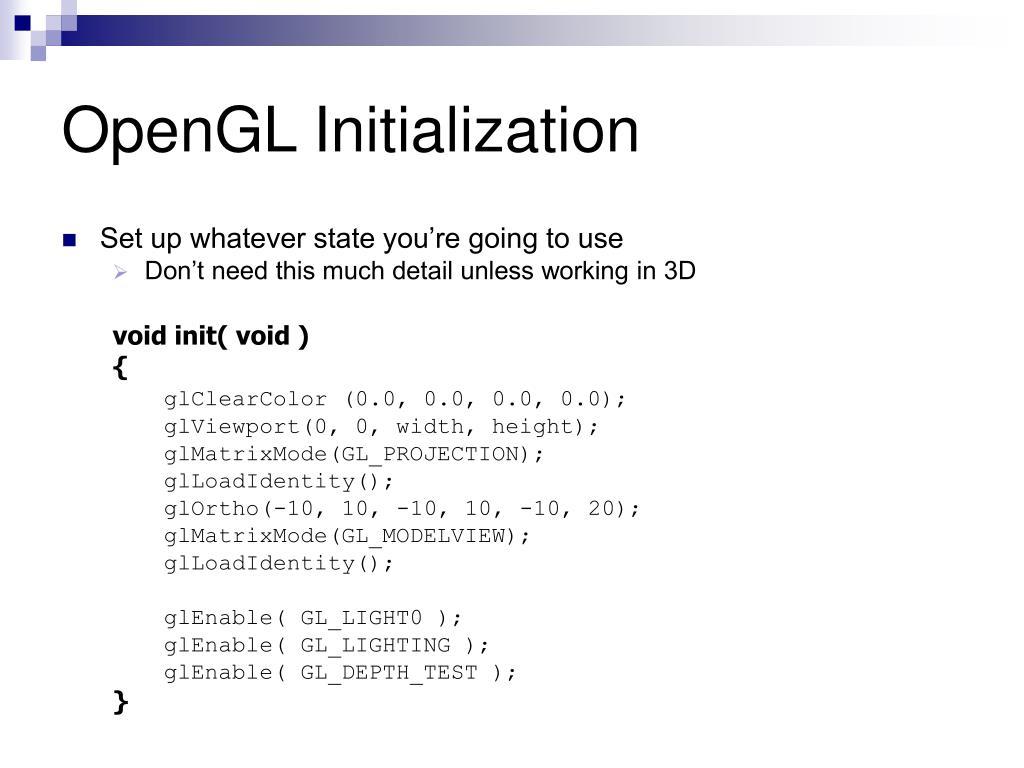 OpenGL Initialization