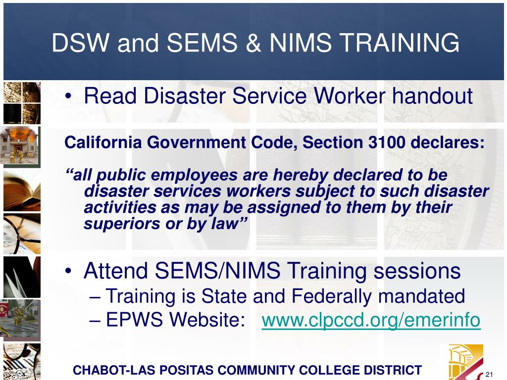 DSW and SEMS & NIMS TRAINING