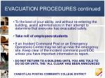 evacuation procedures continued