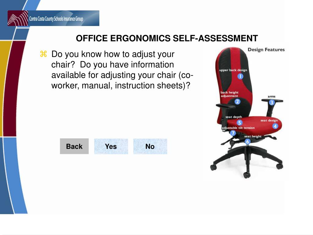 Do you know how to adjust your chair?  Do you have information available for adjusting your chair (co-worker, manual, instruction sheets)?