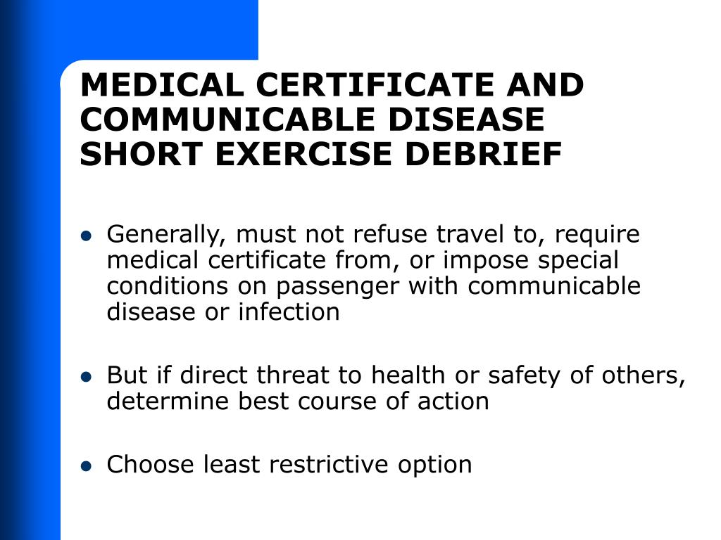 MEDICAL CERTIFICATE AND COMMUNICABLE DISEASE