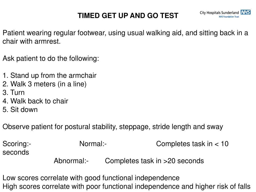 TIMED GET UP AND GO TEST