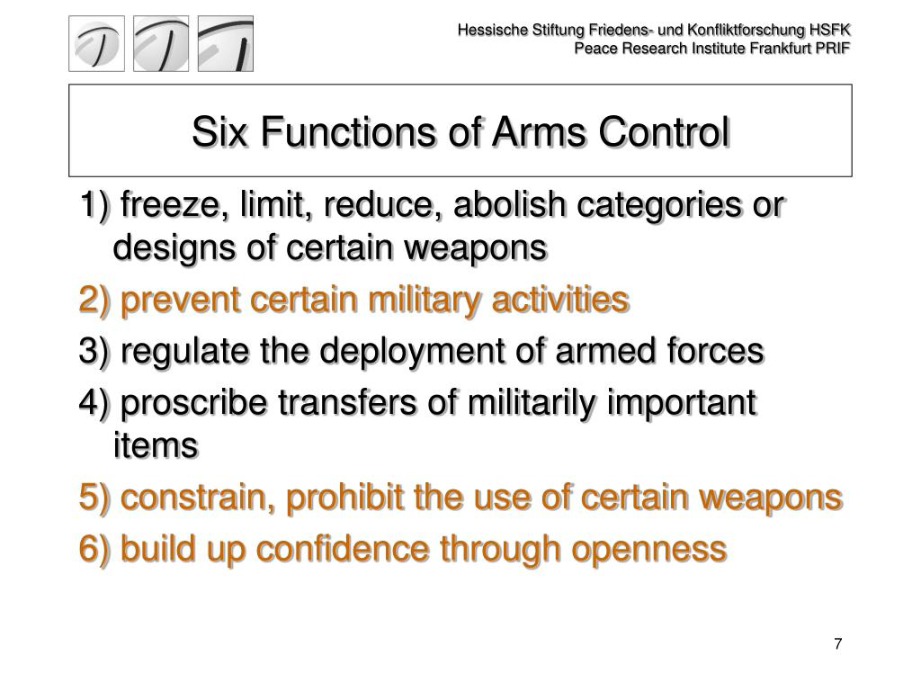 Six Functions of Arms Control