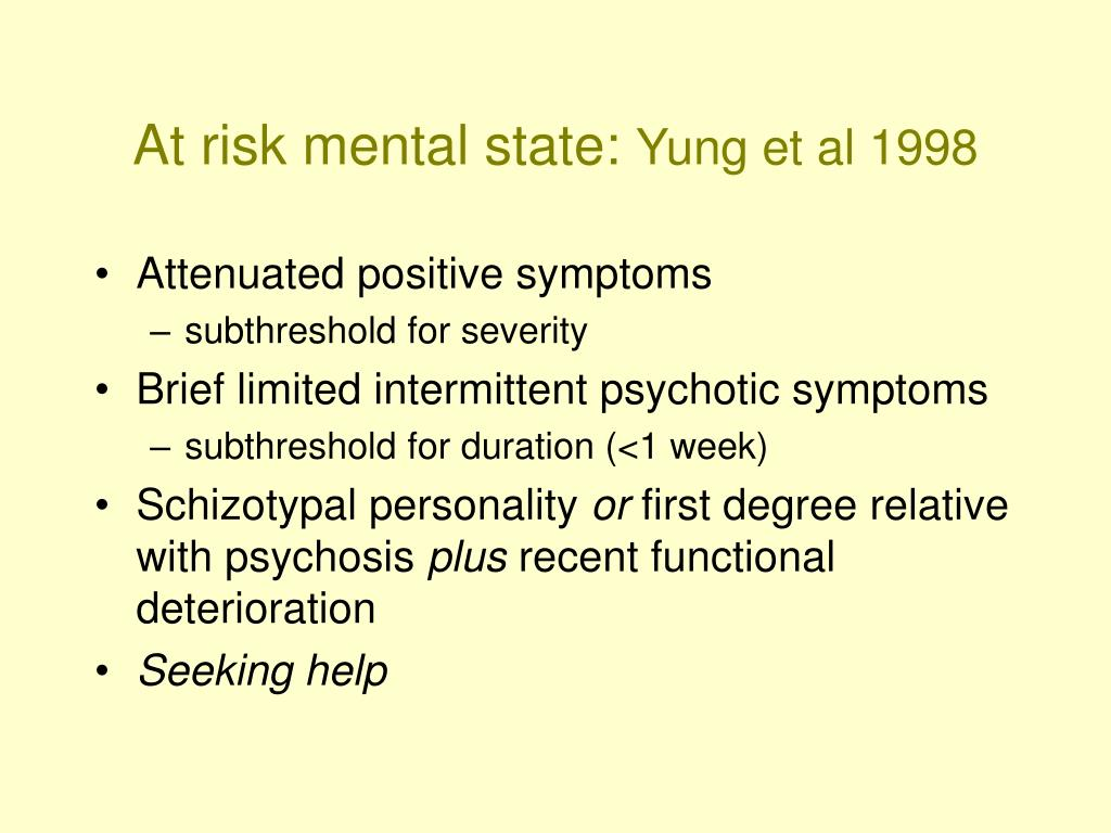 At risk mental state: