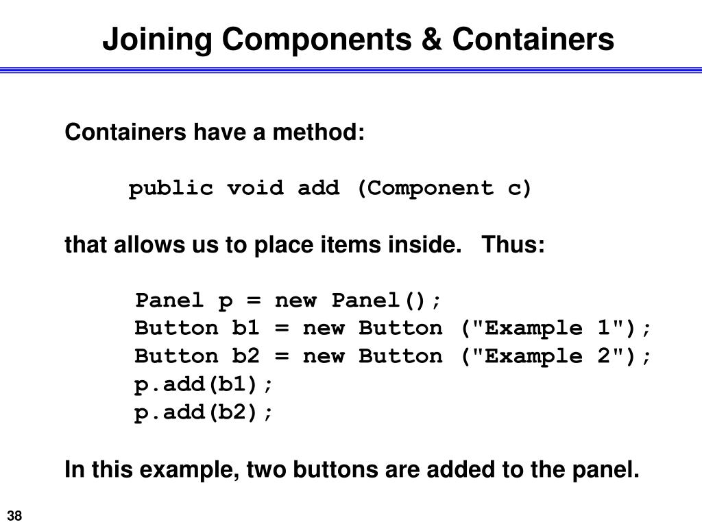 Joining Components & Containers