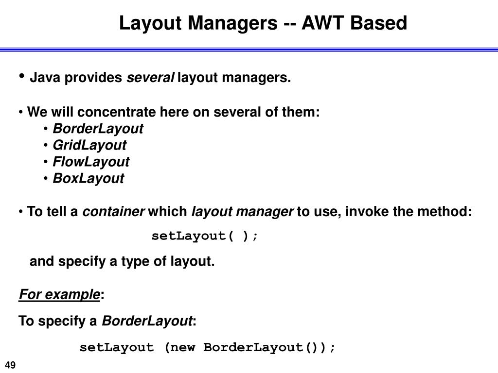 Layout Managers -- AWT Based