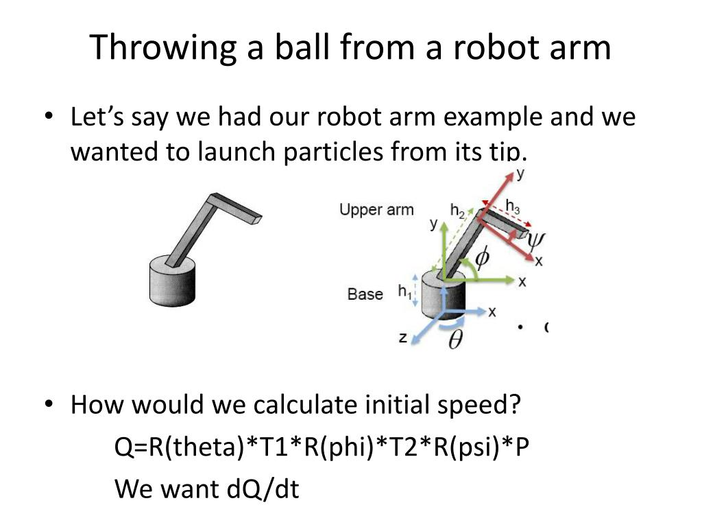 Throwing a ball from a robot arm