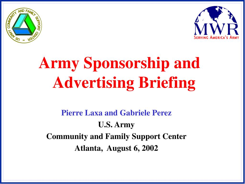 Army Sponsorship and Advertising Briefing