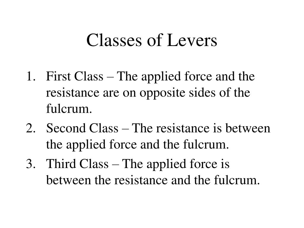 Classes of Levers
