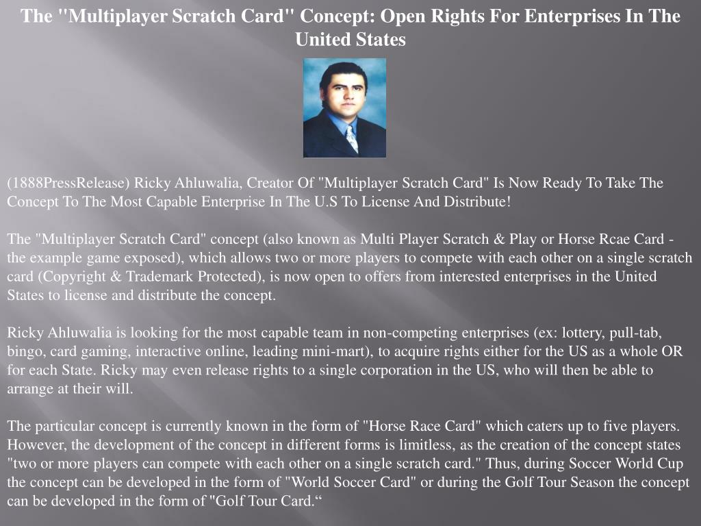 """The """"Multiplayer Scratch Card"""" Concept: Open Rights For Enterprises In The United States"""