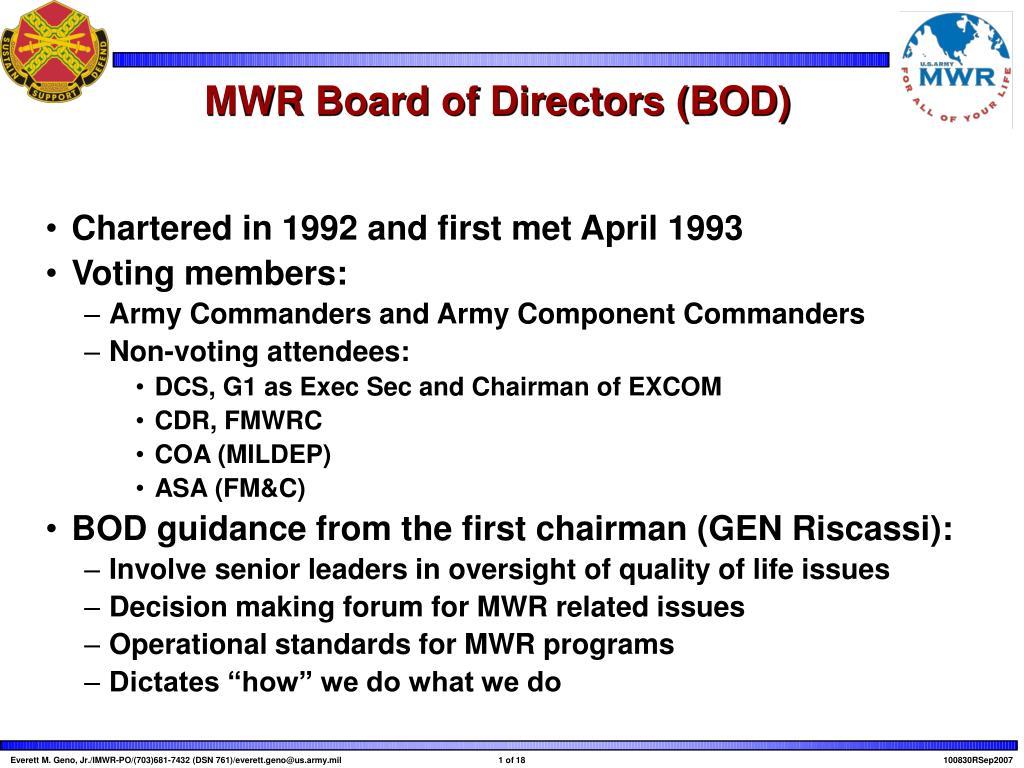 MWR Board of Directors (BOD)