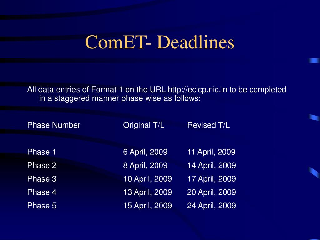 ComET- Deadlines