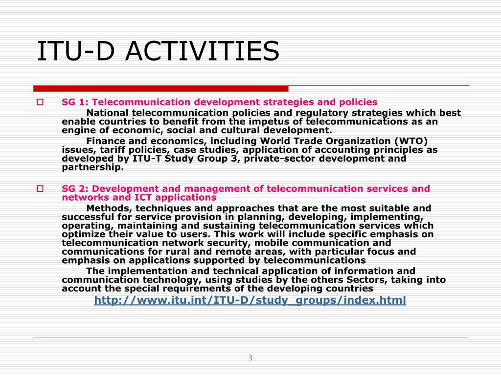 ITU-D ACTIVITIES