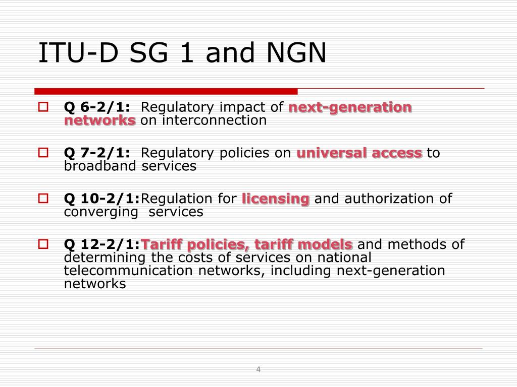 ITU-D SG 1 and NGN