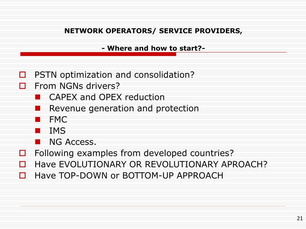 NETWORK OPERATORS/ SERVICE PROVIDERS,