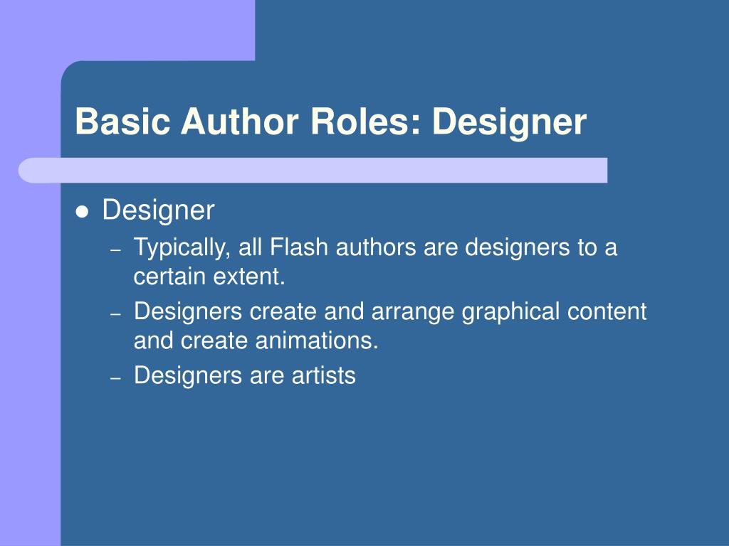 Basic Author Roles: Designer