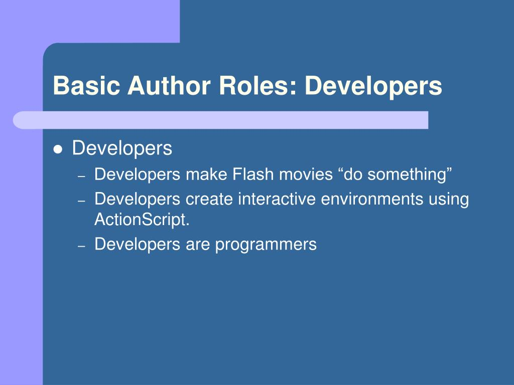 Basic Author Roles: Developers