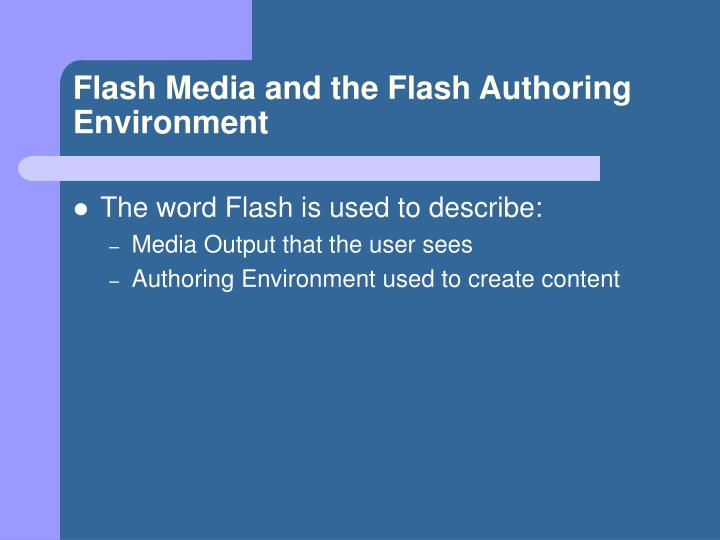 Flash media and the flash authoring environment