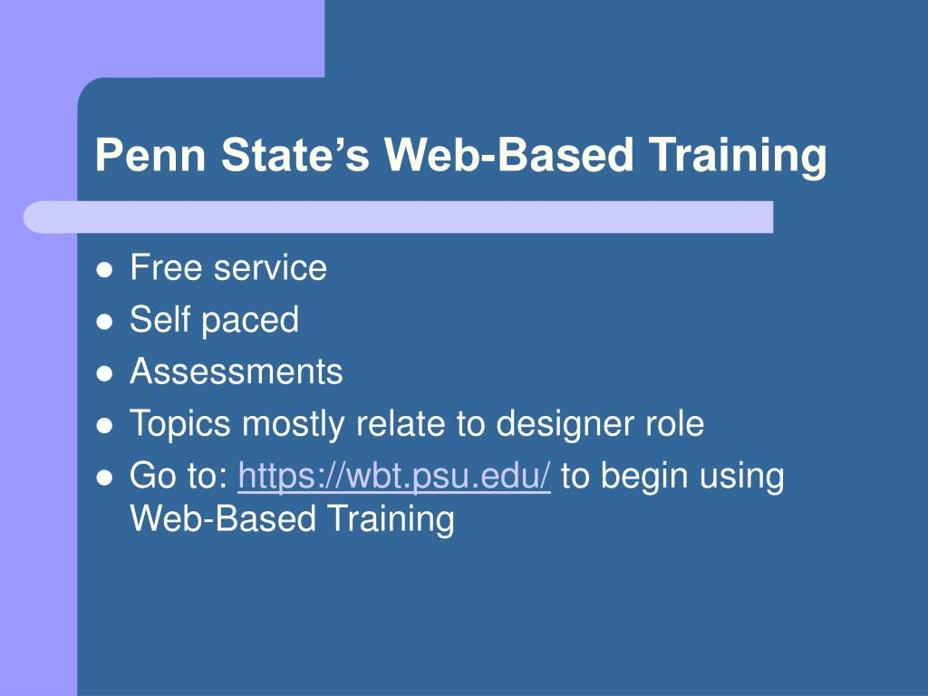 Penn State's Web-Based Training