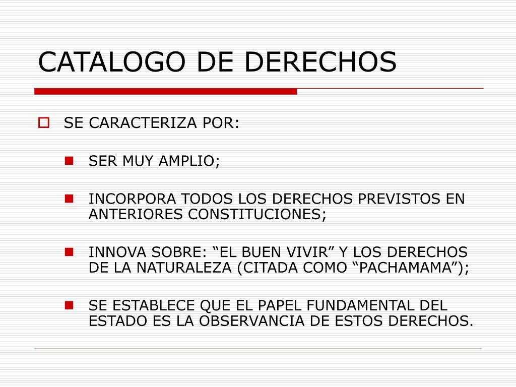 CATALOGO DE DERECHOS