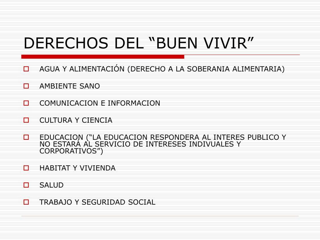 """DERECHOS DEL """"BUEN VIVIR"""""""