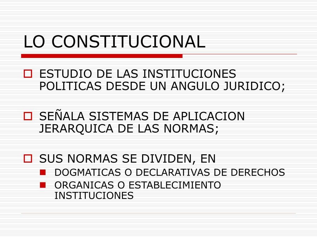 LO CONSTITUCIONAL