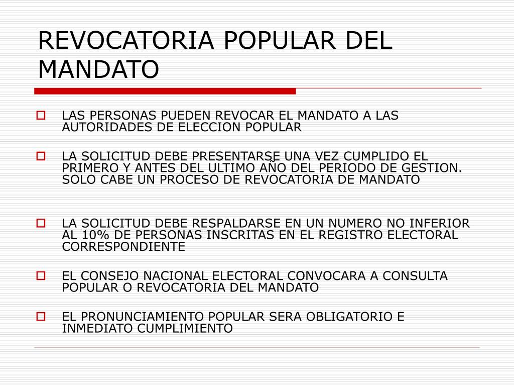 REVOCATORIA POPULAR DEL MANDATO
