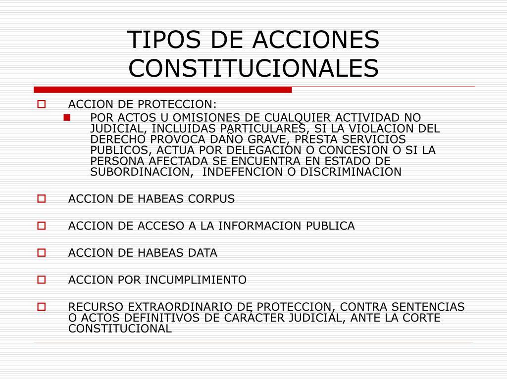 TIPOS DE ACCIONES CONSTITUCIONALES