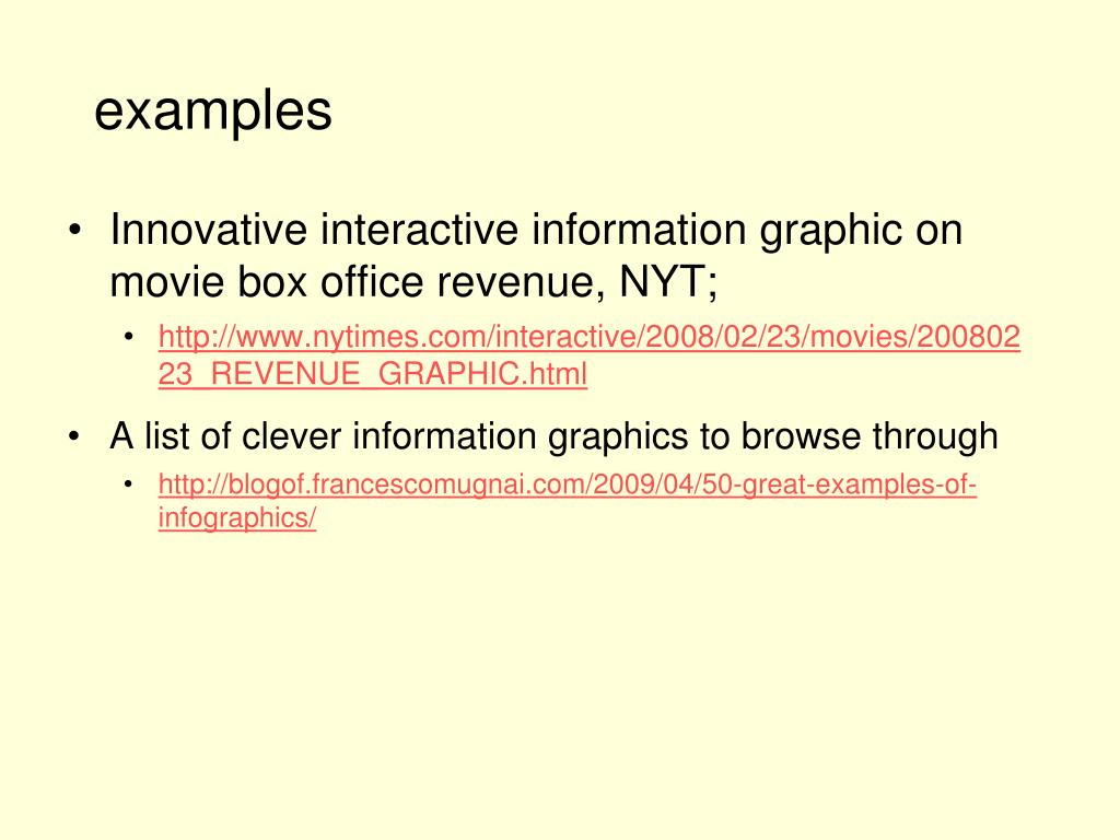 Innovative interactive information graphic on movie box office revenue, NYT;