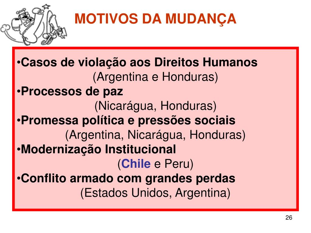 MOTIVOS DA MUDANÇA