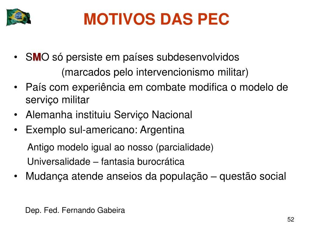 MOTIVOS DAS PEC