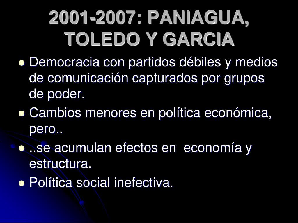 2001-2007: PANIAGUA, TOLEDO Y GARCIA
